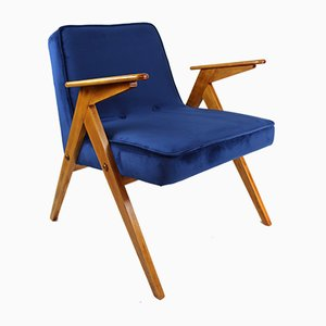 Vintage Dark Blue Velvet Armchair by Józef Chierowski, 1970s