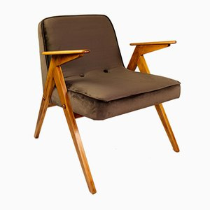 Vintage Brown Velvet Armchair by Józef Chierowski, 1970s