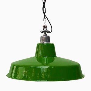 Grün Emaillierte Deckenlampe, 1950er