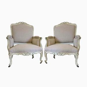 Antique French Bergere Armchairs, Set of 2