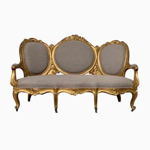 19th Century Rococo Spanish Giltwood Settee