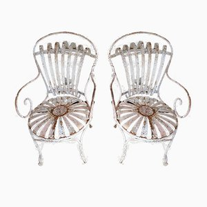 Antique Garden Chairs, Set of 2