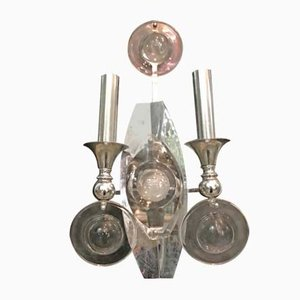 Mid-Century Chrome and Glass Disc Sconces by Oscar Torlasco, 1970s, Set of 2