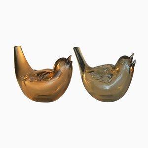 Schillernde Vintage Vogelskulpturen aus Schillerndem Vogelgoldenem Kristallglas von Paolo Venini für Venini, 2er Set