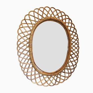 Specchio vintage in bambù, anni '70