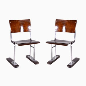Bauhaus German Beech and Chrome Folding Chairs, 1920s, Set of 2
