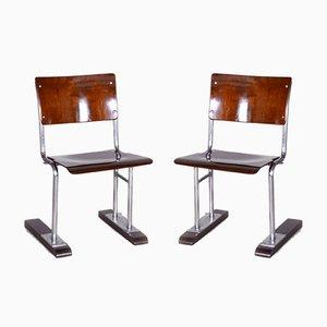 Bauhaus German Beech and Chrome Folding Chairs, 1920s, Set of 2