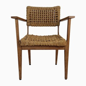 Oak and Rope Lounge Chair by Adrien Audoux & Frida Minet for Vibo Vesoul Marseille, 1950s