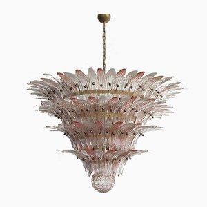 Lampada da soffitto Palmette a 4 livelli con 163 bicchieri rosa e trasparenti, 1979