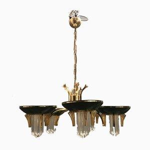 Crystal Brass Chandelier, 1970s