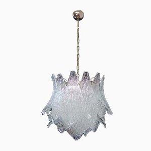 Lampada da soffitto vintage in vetro di Murano con 38 bicchieri trasparenti, Italia, 1987