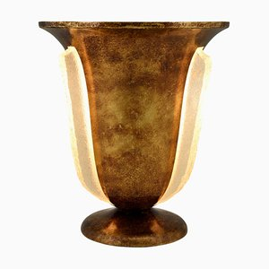 Art Deco French Brass and Glass Torchiere Table Lamp, 1930s
