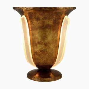 Französische Art Deco Tischlampe aus Messing & Glas, 1930er