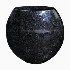 Small Oval Shell Cracking Calsomine Vase in Blue Resin and Shell from VGnewtrend