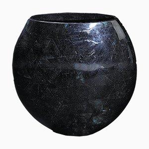 Vaso Calsomine piccolo ovale in resina blu e conchiglia di VGnewtrend