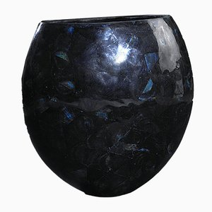 Large Oval Shell Cracking Calsomine Vase in Blue Resin and Shell from VGnewtrend