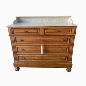 Antique French Marble and Oak Chest of Drawers, 1900s