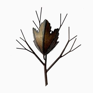 Brutalist Copper Leaf and Branch Wall Sconce