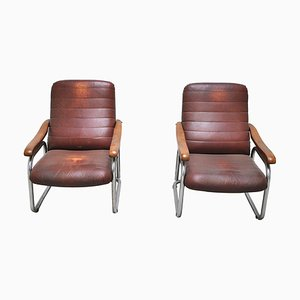 Bauhaus Style Lounge Chairs, 1950s, Set of 2