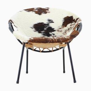 Cowhide Leather Circle Chair by Lusch Erzeugnis, 1960s