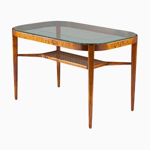 Swedish Modern Dining Table in Birch, Glass & Rattan from Bodafors, 1940s