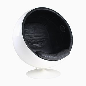 Ball Chair in Leather Upholstery and Speakers by Eero Aarnio, 1970s