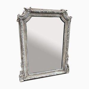 Französischer lackierter Spiegel mit Holzrahmen und Gesso Gestell aus 19. Jhdt