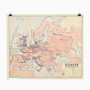 Vintage French School Rossignol Wall Map Europe & Africa, 1960s