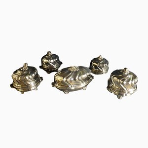 Antique Silver Metal Bells, Set of 5