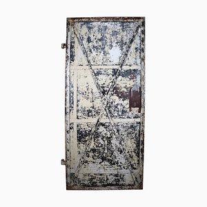 Porte Antique en Fer Patiné Industriel, France