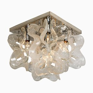 Murano Glass Chrome Catena Flush Mount Chandelier by J.T. Kalmar, 1960s