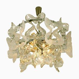 Catena Murano Glass Chrome Chandelier by J.T. Kalmar, 1970s
