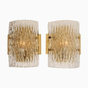 Structured Ice Glass Wall Sconces by J.T. Kalmar, 1960s, Set of x