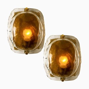 Brass and Brown Glass Hand Blown Murano Glass Wall Lights by J.T. Kalmar, 1960s, Set of 2
