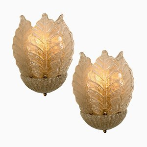 Murano Glass and Gold-Plated Sconces by Barovier & Toso, Italy, 1960s, Set of 2