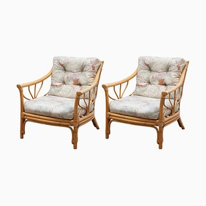 Italian Bamboo Lounge Chairs, 1970s, Set of 2