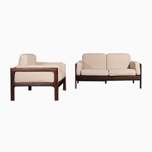 Mid-Century 2-Sitzer Sofa und Sessel aus Palisander von Komfort, 2er Set