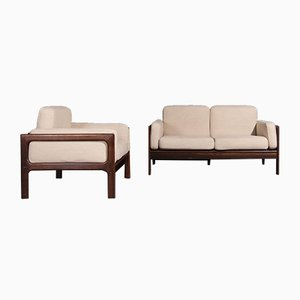 Sofá de dos plazas y butaca Mid-Century de palisandro de Komfort. Juego de 2