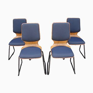 Pagholz Esszimmerstühle, 1970er, 4er Set