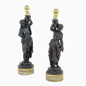 Napoleon III Oriental Style Table Lamps in Spelter, Set of 2
