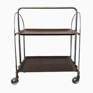 Dinett Serving Trolley with Gerlinol Trays in Walnut Look and Chrome Frame Bremshey, 1960s