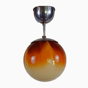Lampada da soffitto Mid-Century sferica in vetro colorato