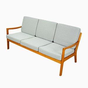 Sofá de tres plazas Senator de teca y tela de teca de Ole Wanscher para Poul Jeppesens Møbelfabrik, años 50