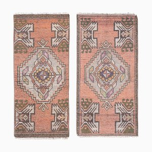 Small Vintage Turkish Hand-Knotted Woolen Rugs, Set of 2