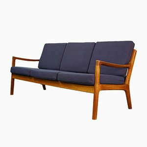 Teak and Kvadrat Fabric 3-Seater Senator Sofa by Ole Wanscher for France & Søn / France & Daverkosen, 1950s