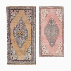 Mid-Century Turkish Handmade Distressed Low Pale Faded Carpets, 1960s, Set of 2