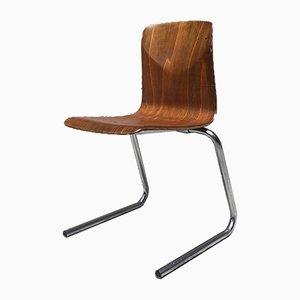 German Curved Wood and Metal Chair from Pagholz Flötotto, 1960s