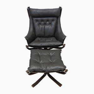 Falcon Chair und Hocker mit hoher Rückenlehne von Sigurd Ressell für Vatne Lenestolfabrikk, 1990er