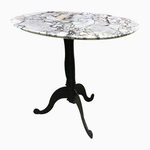 Tavolino da caffè ovale in marmo grigio con gambe ricce, Italia, anni '70
