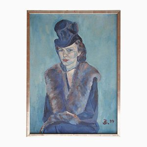 Impressionist Woman in Blue Oil Painting, 1944